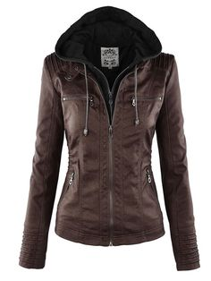 Ericdress Plus-Size Slim Double-Layer Hooded Women's Jacket 12924305 - Ericdress.com Leather Jacket With Hood, Faux Leather Jackets, Leather Hoodie, Leather Collar, Leather Wallet, Pu Jacket, Hooded Jacket, Coats For Women, Jackets For Women