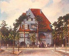 "Berlin-Zehlend., Villa Winterfeldtstr. Berlin-Zehlendorf, Villa Winterfeldtstr. (heute Rhumeweg), (Arch.: Siegfried Kaprowski). ""Villa des Herrn (..) Otto Maier""."