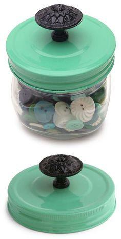 Spray paint a Mason Jar lid and add a cool vintage knob.