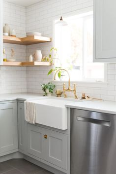 Designing Brick Kitchens for Your Style Home   Fireclay Tile Glass Shelves Kitchen, Kitchen Backsplash, Corner Shelves Kitchen, Corner Shelving, Corner Shelf, Kitchen Dining, Kitchen Decor, Kitchen Ideas, Kitchen Paint