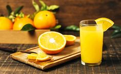 Front view halved orange next to orange juice , Fresco, Orange Juice, Free Photos, Health, Food, Summer Fruit, Instagram Feed, Space, Fitness