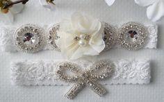 Wedding Garter Set Bridal Garter Ivory Bridal by WestaireBridal