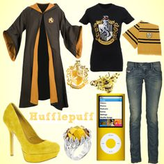 """hufflepuff outfit"" by alltimeinsane-slytherinmybedplzz ❤ liked on Polyvore"