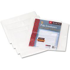 "Poly Side-Load Envelopes, 1 1/4"" Exp, Jacket, Letter, Poly, Clear, 5/pack"