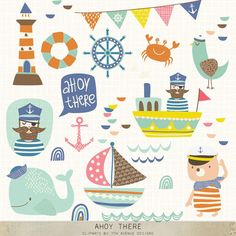 INSTANT DOWNLOAD Ahoy There Cliparts by 7thavenuedesigns on Etsy