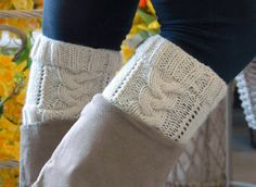 Knitted Boot Cuffs - FREE Pattern. The pattern is made by using basic cable knitting techniques. | #knit #BootCuffs #DIY  http://benfranklincraftsmonroe.blogspot.com/2015/01/knitted-boot-cuffs-free-pattern.html