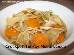 When I get sick the first thing that comes to mind is homemade chicken noodle soup. It is so healthy and delicious! This is such an easy dish to make especially when you make it in the crockpot, and it can be made with either turkey or chicken.
