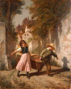 Pierre-Edouard Frere  Returning from the market  Oil on Board 16 x 13 inches ( 41 x 33 cm )