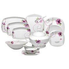 Aparelho de Jantar de Porcelana 46 Peças Quadrado Abidjan Wolff Bom Gourmet 1006