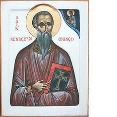 St Kentigern Mungo (Aidan Hart Icons) Tags: portrait art church painting religious icons catholic saints christian holy western sacred tradition eastern orthodox iconography goldleaf eggtempera gessopanel stkentigernmungo aidanharticons byaidanhart