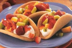 Sugar cookie shaped friut tacos