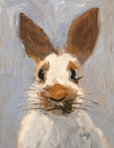 Bunny painting rabbit art oil painting by modernimpressionist