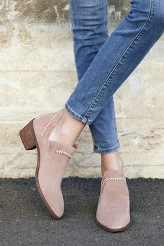 Suede block heel bootie with braided detailing | Sole Society Nikkie