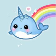 Make your wall super kawaii with this narwhal and rainbow.