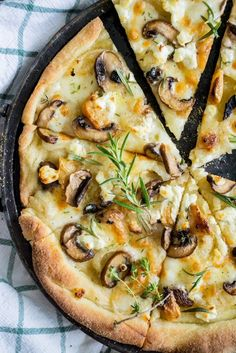 Mushroom Pizza Bianco with Truffle Oil & Fresh Herbs