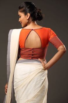 Blouse designs accentuate the looks of the wearer. For a classy and sophisticated look, try these amazing blouse designs which can win you many appreciatio Blouse Back Neck Designs, Cotton Saree Blouse Designs, Simple Blouse Designs, Stylish Blouse Design, Pattern Blouses For Sarees, Blouse Sari, Latest Saree Blouse Designs, Patch Work Blouse Designs, Sari Dress