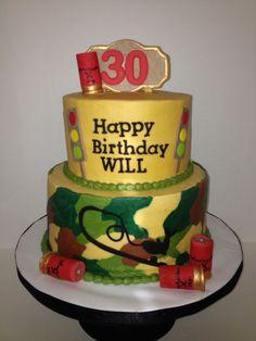 Outdoorsman's birthday cake-camo, shot gun shells, fishing pole Hunting Cakes, Happy Birthday, Birthday Cake, First Birthdays, Camo, Gun, Sweet Treats, Shells, Fishing
