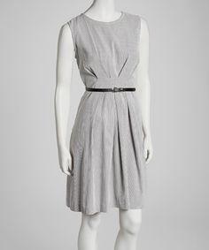 Look at this #zulilyfind! Sharagano Black Stripe Belted Sleeveless Dress by Sharagano #zulilyfinds