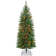 Artificial Tree Kingswood Fir Hinged Pencil 4.5 Feet Multicolored PVC Christmas