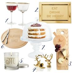 Shop Set of 2 Gold Rim Coupes, Plated Tray, American Long Cheese Board, Elk Bottle Opener, Glass Candle, Maple Wood Carving Board, Large Glass Cake Stand and more