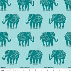 Elephant Fabric - Madhuri Elephant Blue by The Quilted Fish for Riley Blake C3352 Blue - 1/2 yard on Etsy, $5.20