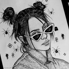 Billie Eilish, Dark Drawings, Kpop Drawings, Anime Rapper, Ariana Grande Drawings, Girl Drawing Sketches, Stunning Wallpapers, Celebrity Drawings, Crazy Girls