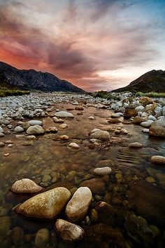 """""""Mountain stream"""" Cold stream flowing through the mountains near Franchoek in the Western Cape of South Africa -- photo  by John & Tina Reid via flickr"""