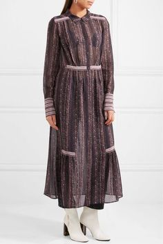 Brigette Printed Silk-georgette Maxi Dress - Merlot Mih Jeans 6RHBG