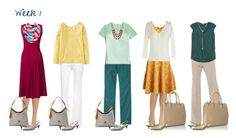 """Gold & Teal: Work Capsule Week 1"" by kristin727 ❤ liked on Polyvore featuring Effie's Heart, DL1961 Premium Denim, Lands' End, Dooney & Bourke, MINKPINK, L.L.Bean, Cole Haan, J.Crew, Lodis and Boden"