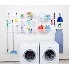 The Flow Wall Laundry and Utility Starter Kit has everything you need to organize your laundry or utility room Flow Wall panels create up to 24 square feet of sturdy storage space for cleaning supplies, towels, and more For versatility, Flow Wall bins and hooks attach to the panels and are adjustable for a customized storage system that meets your needs With the Flow Wall system, you can keep laundry detergents, towels, cleaning supplies, brooms, and mops organized and out of your way… Utility Room Storage, Storage Sets, Laundry Room Organization, Wall Storage, Storage Organization, Storage Spaces, Storage Hooks, Household Organization, Organize Cleaning Supplies