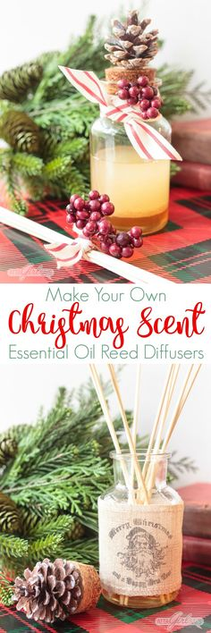 DIY Christmas Scent Reed Diffuser Learn how to make your own essential oil reed diffusers, featuring a delicious Christmas scent of clove, cedarwood, sweet orange and vanilla, in beautiful glass bottles that will enhance your holiday decor. Christmas Scents, All Things Christmas, Christmas Holidays, Christmas Decorations, Christmas 2017, Holiday Gift Guide, Holiday Crafts, Holiday Decor, Joanna Gaines