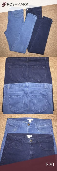 Forever 21 Denim Jean Bundle Two pairs of size 28 Forever 21 denim skinny jeans. Perfect condition just too big on me! Only worn a handful of times. No fading in the denim at all. 72% cotton 26% polyester 2% elastane. Not jeggings but have a little give/stretch to them! Super comfortable. Front and back pockets. Forever 21 Jeans Skinny