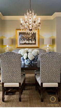 Dining Room. Leopard velvet chairs. Amanda Carol Interiors