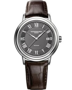Maestro 2837-STC-00609 Mens Watches - Automatic date Steel on leather strap grey dial | RAYMOND WEIL Genève Luxury Watches Check out this Mens Maestro watch from RAYMOND WEIL