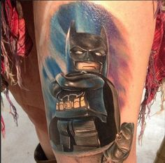 Lego tattoo designs are fairly popular, they cover all areas from movies and video games to popular TV characters. See our favourite top 20 Lego designs! Lego Tattoo, Batman Tattoo, Dc Tattoo, Comic Tattoo, Nerdy Tattoos, Cartoon Tattoos, Boy Tattoos, Arm Tattoos For Guys, Body Art Tattoos