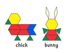 Patrick's Day Clover (color) or (b/w) Easter Basket (color) or (b/w) Chick & Bunny (color) or (b/w) Spring Flower 1 Flowers 2 Flowers (color) or (b/w) Flower (color) or (b/w) Spring Designs was last modified: January 2018 by Jessica Easter Activities, Craft Activities For Kids, Preschool Activities, Pattern Block Templates, Pattern Blocks, Block Patterns, Tangram, Geometry Activities, Math Patterns