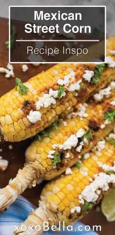 This street style corn on the cob is what you need to try on the BBQ this summer! Perfect meal for summer grilling. If you are looking for a new corn recipe, check this out. It tastes just like authentic Mexican street style corn. #recipes #corn #BBQ Healthy Side Recipes, Healthy Side Dishes, Vegetable Side Dishes, Side Dish Recipes, Lunch Recipes, Mexican Food Recipes, Cooking Recipes, Easy Cooking, Vegetable Recipes