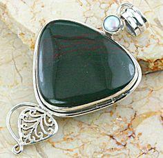DEEP GREEN BLOODSTONE Sterling Silver & Pearl Pendant
