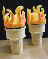 Olympic torch cupcakes. 2012 London, England.
