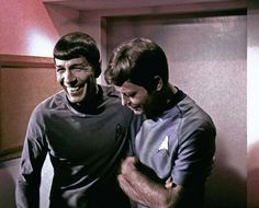 """Leonard Nimoy and Deforest Kelley as Spock and Dr. Leonard """"Bones"""" McCoy in Star Trek. May you both rest in peace with the stars."""