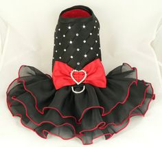 Small dog harness dress.Tickled Red. Tutu skirt. Dog dress. Crystals