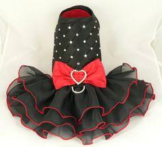 Small dog harness dress.Tickled Red. Tutu skirt. Dog dress. Crystals