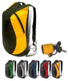Ultra-Sil Day Pack (~$30). Only 2.4 oz, has a 20 liter capacity, and packs down smaller than a fist.