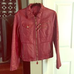 Red/ Burgundy leather jacket This is an AMAZING leather jacket. In great condition. The only problem is a rip on the inside armpit. (See last picture) Easily fixed by a tailor. Lili Rose Jackets & Coats
