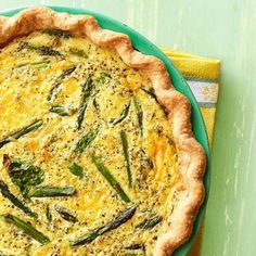 Spinach-Asparagus Quiche: A hearty quiche recipe from Fire Lake Camp in Paola, Kansas!  Recipe: http://www.midwestliving.com/recipe/spinach-asparagus-quiche/