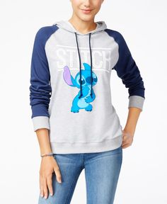 Disney's Stitch takes center stage on Mighty Fine's pullover hoodie with contrast raglan sleeves. | Cotton/polyester | Machine washable | Imported | Attached self hood with drawstrings | Pullover styl