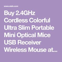 Buy Cordless Colorful Ultra Slim Portable Mini Optical Mice USB Receiver Wireless Mouse at Wish - Shopping Made Fun Wish Shopping, Mice, Computers, Usb, Colorful, Slim, Stuff To Buy, Computer Mouse