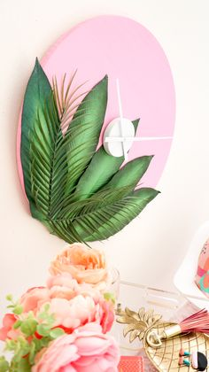 DIY-Plants-on-Pink-Clock-Click-through-for-tutorial.-_