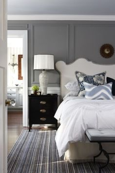 MOLDINGS!  source: Sarah Richardson Design    Elegant bedroom with Sarah Richardson Design Vanessa Headboard, gray walls, wainscoting by evakamaratou