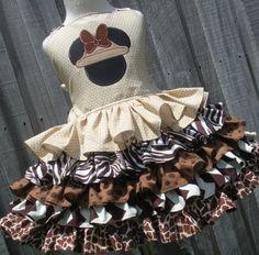 Custom Boutique Mickey Minnie Animal Safari Ruffled Dress Girl 2 3 4 5 6 7 8
